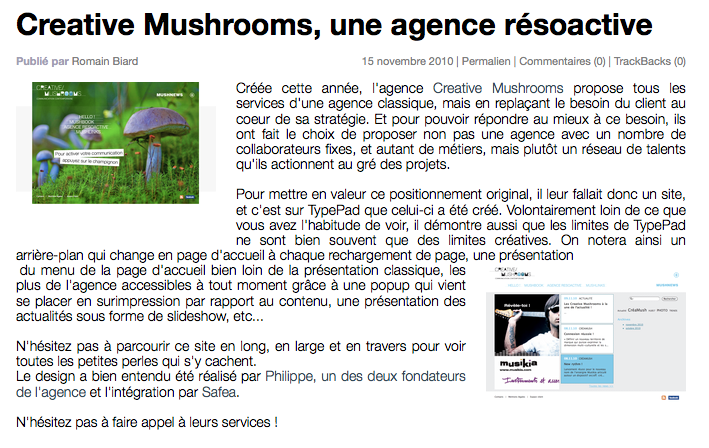 Typad creative mushrooms